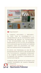 Comparativa Entre SELEXIPAG De #UPTRAVI En Comprimidos Y Las Encapsuladas- Hipertensión Pulmonar
